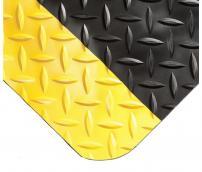 Противоусталостный мат, ромбическое рифление, цвет черный с двумя желтыми краями